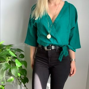 NWT Urban Outfitters wrap top blouse L large